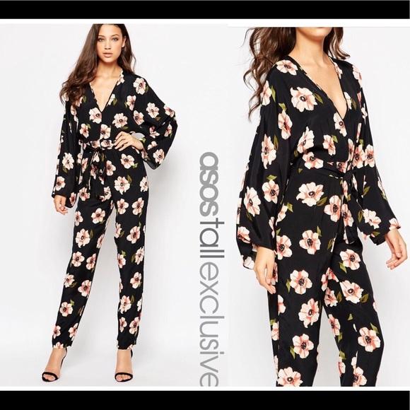 a56c93302390 ASOS • Floral Kimono Tall Jumpsuit